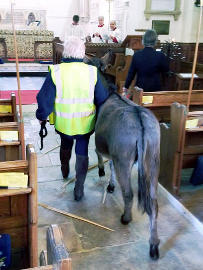 Photograph of the Arrival of the Donkey at St Helen's Church 14 April 2019