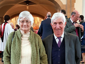 Photograph of John & Molly Cheverton after receiving the St Thomas Award