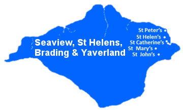Outline of the Isle of Wight showing the locations of St Peter's, St Helen's, St Mary's and St John's Churches and St Catherine's Chapel