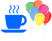 Drawing of a Cup with Hot Drink & Saucer and Balloons