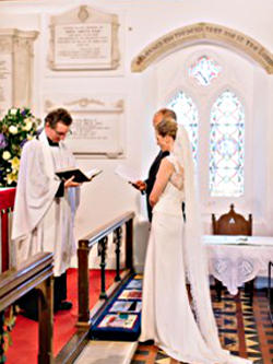 Photograph of Bride and Groom at Altar Rail